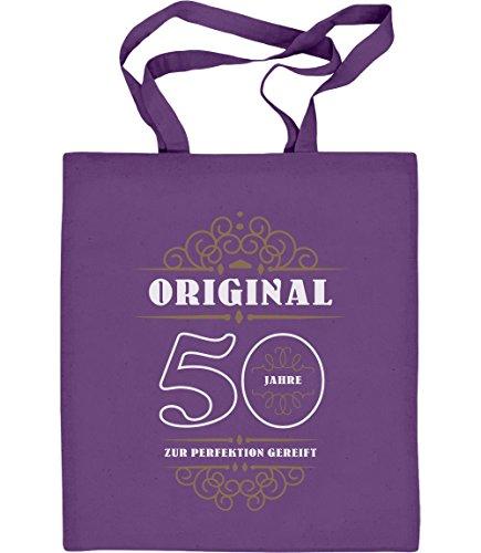 Geburtstag 50 Jahre - Original Geschenk Jutebeutel Baumwolltasche Violett