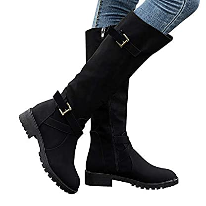 BANAA Womens Over The Knee Boots, Knee High Shoes Calf Biker Boots Ladies Zip Punk Shoes Combat Army Boots Plus Size Shoes Boots 1