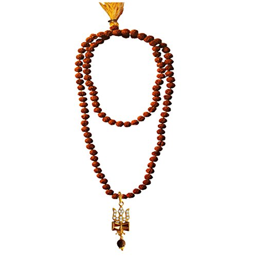 Menjewell Spiritual Collection Multicolor Rudraksh 108 Beads Mala With Stone Studded Lord Shiva Trishul Damru Design Pendant Necklace Mala For Men & Boys
