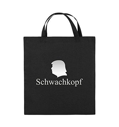 Comedy Bags - Schwachkopf - TRUMP - Jutebeutel - kurze Henkel - 38x42cm - Farbe: Schwarz / Silber Schwarz / Silber