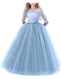 Vestido de niña de flores para la boda Princesa Largo Gala Encaje De Ceremonia Vestidos de