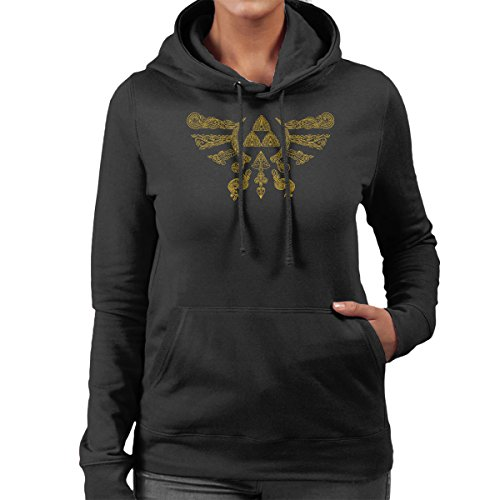 Henna Hylian Symbol Zelda Women's Hooded Sweatshirt Black