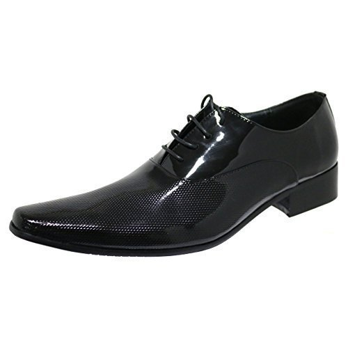Robelli Designer Men's Faux Patent Dotted Leather Smart Lace-Up Dress Shoes –...