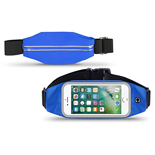 Apple iPhone 7 Plus Bauchtasche Sport Tasche Jogging Hülle Handy Case Fitness, Farben:Schwarz Blau