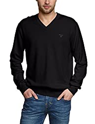 Gant Mens Lightweight Cotton V-Neck Sweater, Black, S