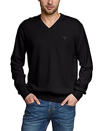 Gant Men's Light Weight Cotton Long Sleeve V-Neck Jumper, Black,Small