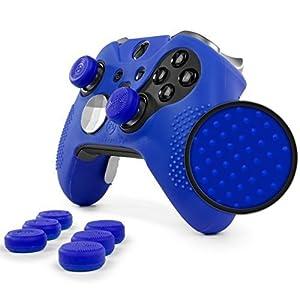 Foamy Lizard ElitePro Grip Nieten Skin Set für Xbox One Elite Controller, schweißfreie Silikonhülle mit erhöhten Anti-Rutsch-Noppen Plus 8 Stück QSX-Elite Daumengriffe