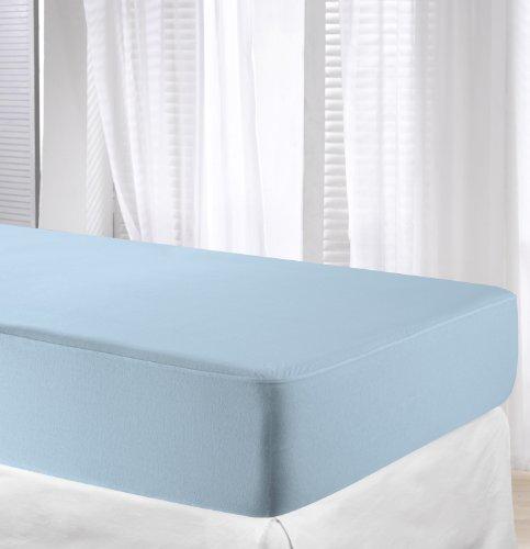 Velfont-Protector de colchón y sábana Bajera Ajustable, Impermeable y Transpirable, Dos Productos en un, Color Azul Claro, Azul, 90 x 200 cm