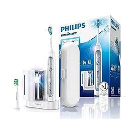 Philips Sonicare FlexCare Platinum Elektrische Zahnbürste HX9172/15 - Schallzahnbürste mit UV-Reinigungsstation, 2 Bürstenköpfen, Drucksensor, 3 Programmen, 3 Intensitäten, Timer & Etui - Weiß