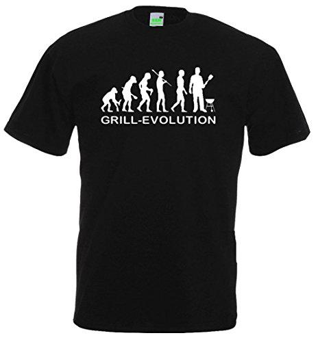 Grill Evolution T-Shirt | Grillen BBQ Affen Sammler Profi Griller Geburtstag Geschenk Männer | Premiumshirt von Bimaxx® Schwarz