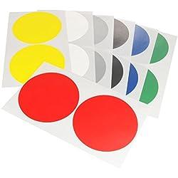 Klebeshop24 bunte Markierungspunkte aus Gewebe | Ø 100 mm | Zum Markieren, Basteln, Dekorieren | Mit strukturierter Oberfläche || rot, 10 Stück
