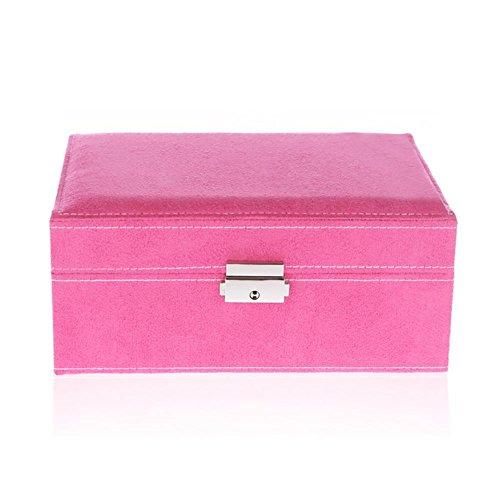 MINI zwei Schicht Schmuck Schmuck Box / Aufbewahrungsbox / Cubby Box Fall Veranstalter mit Spiegel, perfekte Lagerung für Halskette / Armband / Ohrringe / Anhänger , rose red -