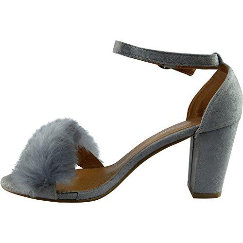 Donnes cinturino alla caviglia blocco tacco sandali Grigio