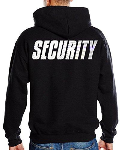 SECURITY - SWEATSHIRT mit Kapuze - reflektierende Folie schwarz Gr.L -