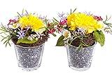 künstliches Blumen-Arrangement im Glas (2 Stück) (Flieder, Gelb, Pink, Weiß, Frühlingsblumen)