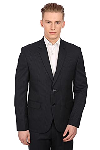 Wintage Men's PV Merino Wool Blended Notched Lapel Navy Pin Stripe Suit