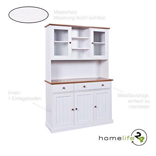 H24living Vitrine Anrichte Esszimmerschrank Küchen-Schrank im Landhaus-Stil Bauern-Schrank 5-türig Weiß aus Massivholz