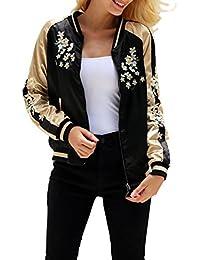Simplee Apparel Damen Jacke Übergang Blumen Stickerei Satin Reversibel Baseball Jacket Bomberjacke Gelb Schwarz