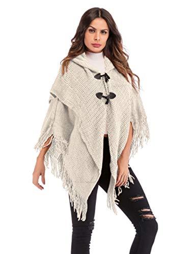Poncho maglione donna mantelle con cappuccio e frange elegante pullover a maglia manica pipistrello mantellina cape maglioni ragazza invernali blusa tunica top tinta unita