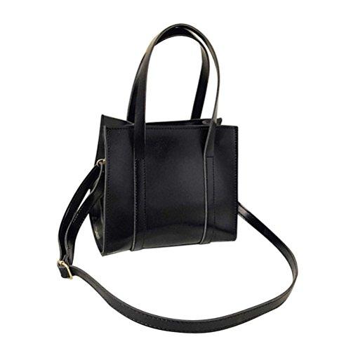 Longra Borsa a spalla inclinata borsa a spalla singola di colore solido in pelle lucida donne moda retrò Nero