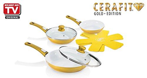 Genius - Cerafit Deluxe Pfannen Set Gold 7-tlg. Keramik-Pfannen Bratpfanne