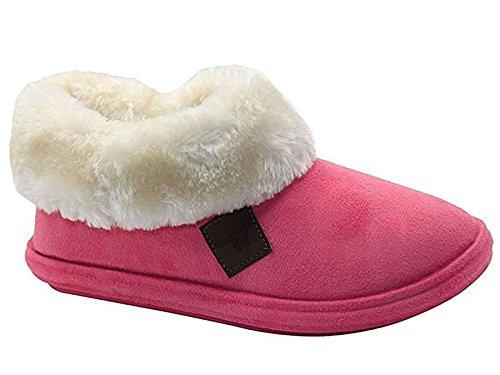 Ladies Chiltern Jo & Joe ecopelle scamosciata pelliccia di pecora collare in pile foderato pantofole taglia 3–8 Pink