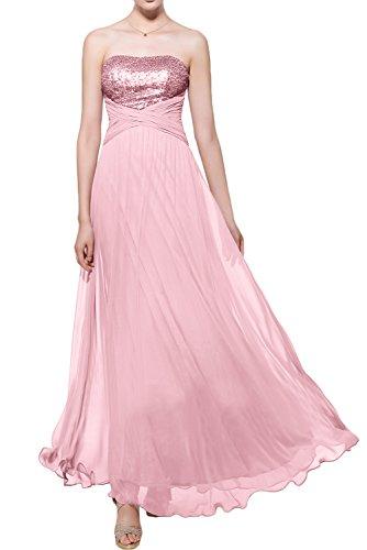 Gorgeous Bride Elegant Trägerlos Empire Chiffon Paillette Lang Abendkleider Lang Festkleider Ballkleider Rosa