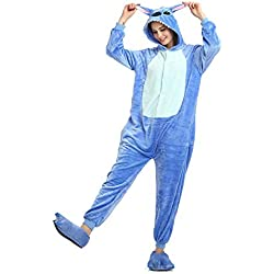 Onesie Adultes Pyjamas Femmes Chaud Vêtements de Nuit Homewear Dinosaure Point Licorne Animal Cartoon Combishort Flannel pyjamasque Jumpsuit