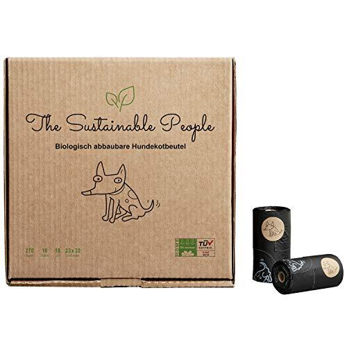TSP biologisch abbaubare Premium Hundekotbeutel - OK compost HOME zertifiziert - 100{e901fe82ac1f9c6cf51ec26d5f1bd1efecb2c11f3775be8cd893964be5bdbe5d} heim-kompostierbar und biologisch abbaubar (kein OXO!) - Gross, Extra Dick (18µm) (18 Rollen (270 Beutel))