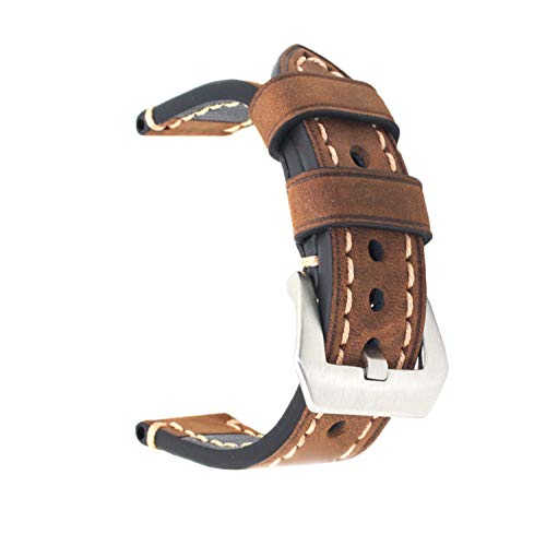 Ersatz-Uhrenband, echtes Leder, für Armbanduhr, Vintage-Stil, für Herren/Frauen, mit Edelstahlschnalle, schwarz/braun, 20mm/22mm/24mm, braun, 20 mm
