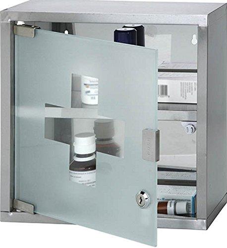 miglior prezzo Montaggio a parete con serratura in acciaio INOX armadietto con 2mensole e anta in vetro satinato (ca. 30 x 12,5 x 30cm. moderno Silver