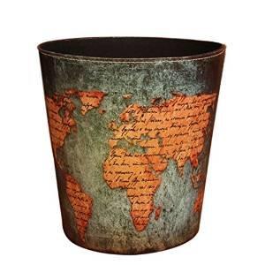 Abfalleimer, sanmersen europäischen Stil Weltkarte Muster PU Leder Papier Korb können Trash Mülleimer Mülltonne.