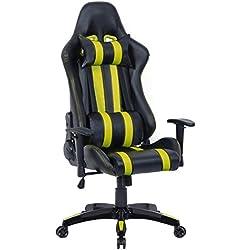 Racing Gaming Bürostuhl Schreibtischstuhl Chefsessel Sportsitz mit Armlehnen und Kissen 5 Farbvarianten (gelb)