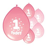 10 x 1ST BIRTHDAY GIRL/ AGE 1 GIRL LIGHT PINK AND PINK MIX PACK BIRTHDAY BALLOONS (PA)