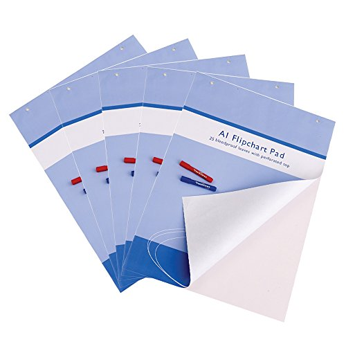 VIZ-PRO Paquete de 5 blocs de papel para Pizarra Rotafolios, A1, blanco, 841 x 594 mm, 25 hojas