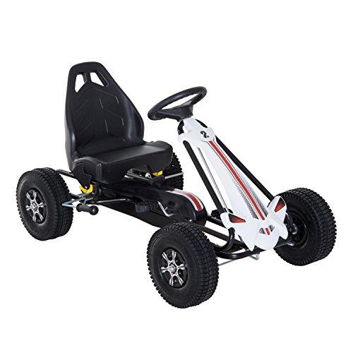 Homcom Coche de Pedales Go Kart Racing Deportivo con Asiento Ajustable Embrague y Freno Juguete Exterior 103x64x59.5cm Marco Acero Blanco y Negro