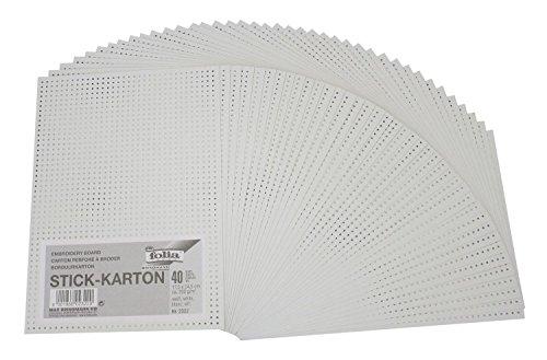 Folia 2322 - Stickkarton, unbedruckt, 17,5 x 24,5 cm, 40 Blatt, weiß