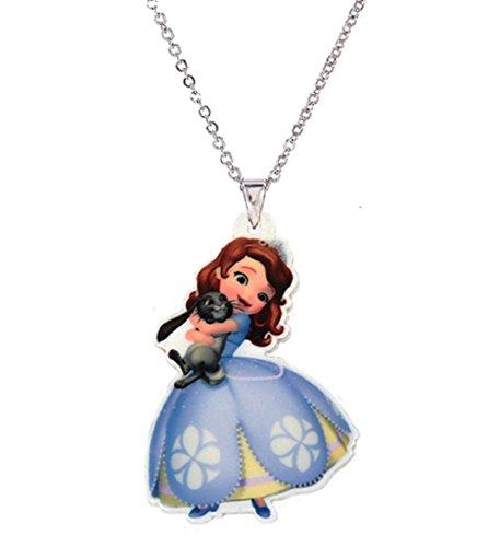 Sofia Prinzessin von Cartoon Anhänger Halskette Prinzessin von Comic Schmuck Halskette Kinder Mädchen Geschenk Farbe Silber