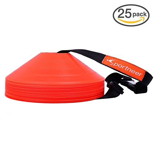 Sportneer 5,1 cm Orange Fußball-Training Kegel /Field Cone Marker, Set von 25 Soccer Disc Kegel Set mit Tragegurt