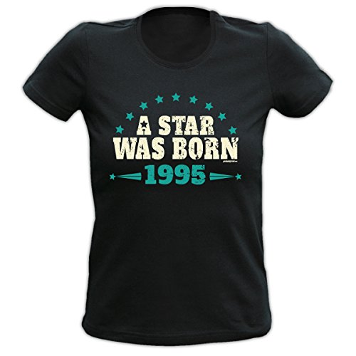 4Girls Damen T-Shirt <->          A Star was Born 1995          <->           Fun Geschenk, Goodman Design® Schwarz