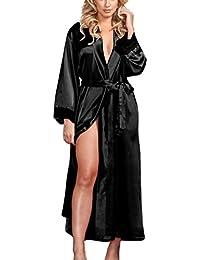 Keepwin LenceríA Sexy 2018, Vestido Largo Atractivo De Las Mujeres Del Halter Kimono De La Seda Del Halter Ropa Interior Del CordóN De La Ropa Interior Del CordóN De Babydoll