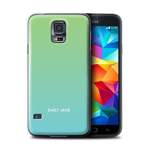 Stuff4 Personalizzato Colori Personalizzati Ombre Custodia/Cover per Samsung Galaxy S5 Mini/Blu/Verde Design/Iniziale/Nome/Testo Caso/Cassa