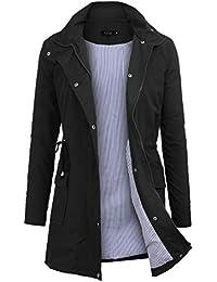 2c75c83f183ea Manteau Imperméable Veste de Pluie Femme Poncho Pluie à Capuche Zippé Cape  de Pluie Manches Longues