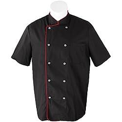 Misemiya ® Cocina Uniformes Chaquetas Chef Cocinero con Botón REFORMADO - Ref.8421B - L, Negro