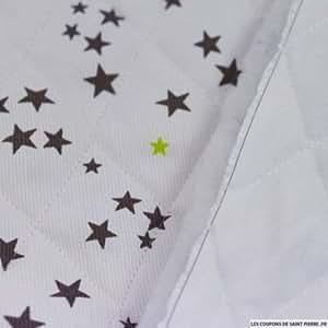 Tissu au mètre - Piqué de coton matelassé étoiles taupe et vert anis au mètre