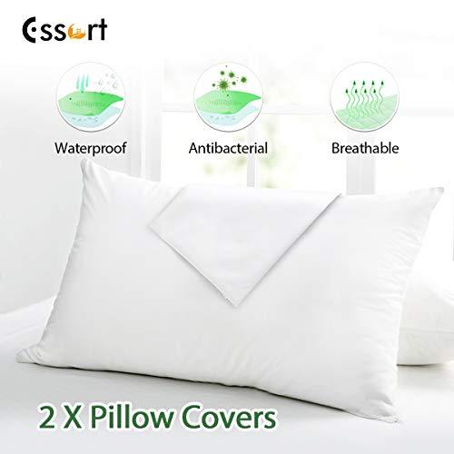Essort 2 pezzi federa impermeabile cuscini, copricuscini impermeabili, confezione da federe per cuscini con zip, resistenti ai liquidi, lavabili in lavatrice, antiallergiche e antibatteriche 50x70cm