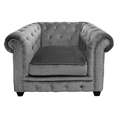 Premier-Housewares-2404076-Regents-Park-Chesterfield-Sedia-VellutoBorchiette-Grigio