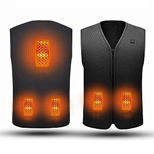 EEIEER Beheizte Weste mit 10000mAh Powebank, Elektrische Beheizte Jacke USB-Lade Heizweste, Warme Heat Jacke mit 3…