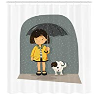 ZKHTO Kawaii Shower Curtain, Japanese Anime Dog Face with Giant Eyes and Pink Cheeks Doodle Character, Fabric Bathroom Decor Set with Hooks, Pale Pink Black White