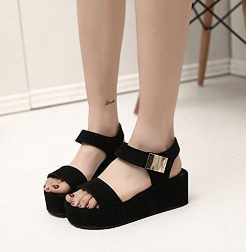 Damen Sandalen Flach Plateau Slingback Peep-Toe Klettverschluss Einfach Klassisch Bequem Strapazierfähig Freizeit Urlaub Schuhe Schwarz